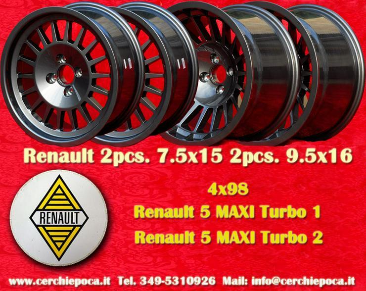 4 Stk Felgen Renault 5 Turbo MAXI 7.5x15 9.5x16 Lk.4x98 NEU
