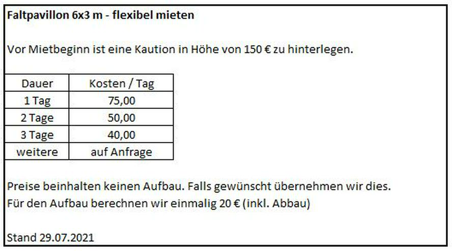 Bild 4: Faltpavillon Faltzelt 6x3 m - flexibel mieten - Ab 75€/Tag