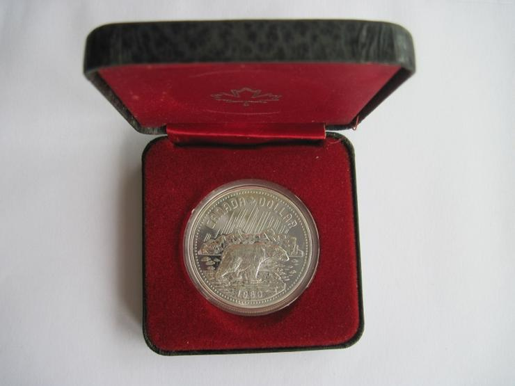 Bild 3: 1 Dollar Kanada 1980 Eisbär Polierte Platte, Silber, in Kapsel und Etui