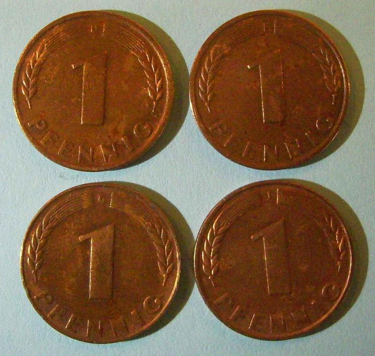 4x 1 PFENNIG von 1948 (!!!) / ein kompletter (!!!) Satz = D + F + G + J / »BANK DEUTSCHER LÄNDER« / Jaeger: Nr. 376