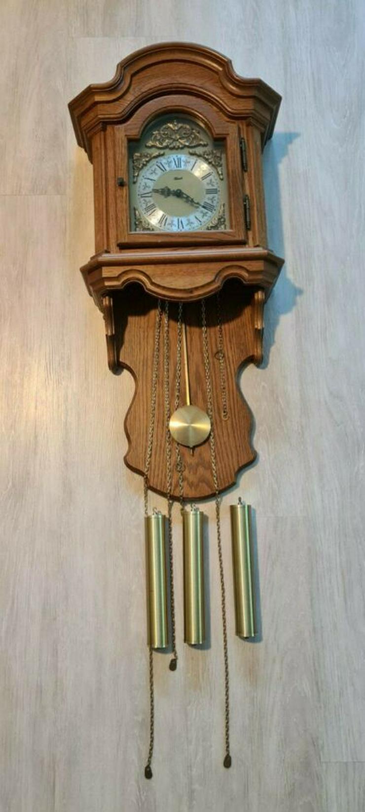 Franz Hermle Wanduhr 451-030A mit Pendel und 3 Gewichten Eiche rustikal WestminsterGong