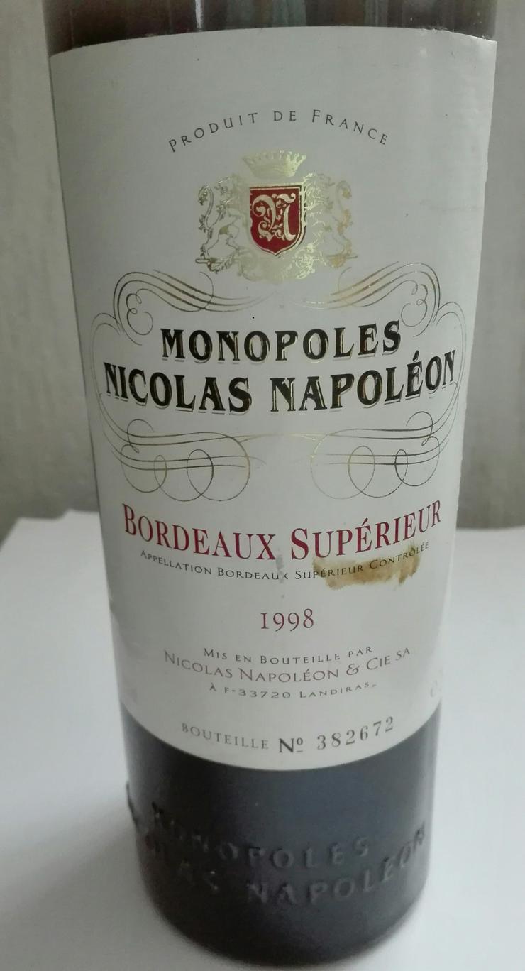 Bild 2: Weinflasche Monopoles Nicolas Napoleon 1998 Bordeaux Superieur
