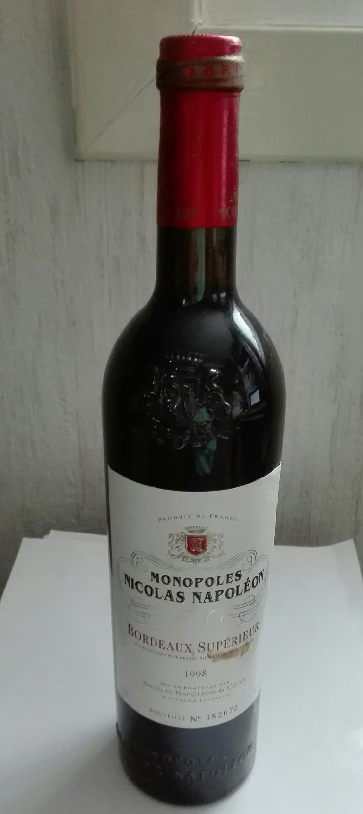 Weinflasche Monopoles Nicolas Napoleon 1998 Bordeaux Superieur