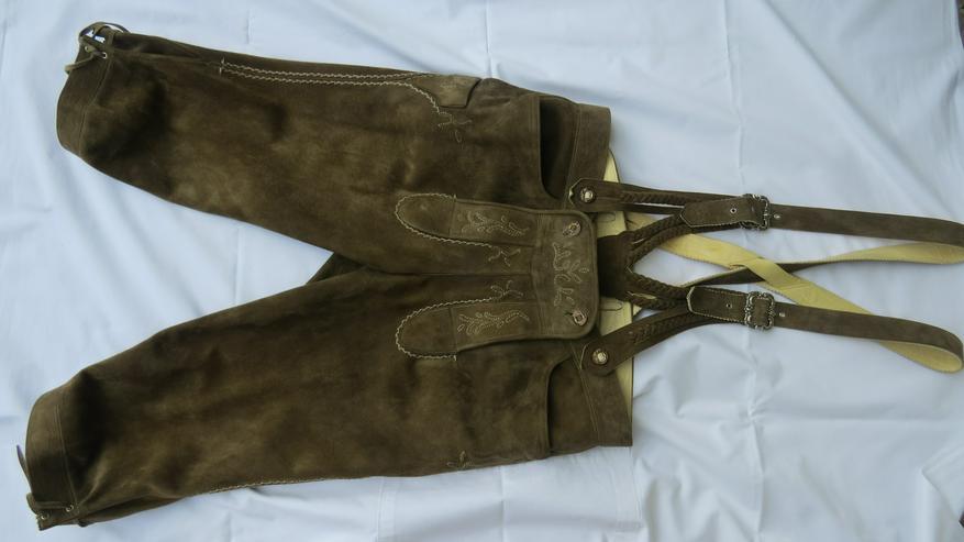 Hirschlederne Trachten-Kniebundhose mit Hosenträger