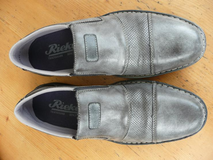 Bild 5: Rieker Herrenhalbschuhe (Slipper), grau, Größe 44, wenig getragen