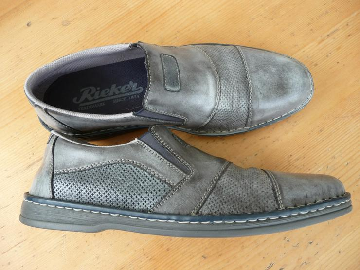 Rieker Herrenhalbschuhe (Slipper), grau, Größe 44, wenig getragen - Größe 44 - Bild 1