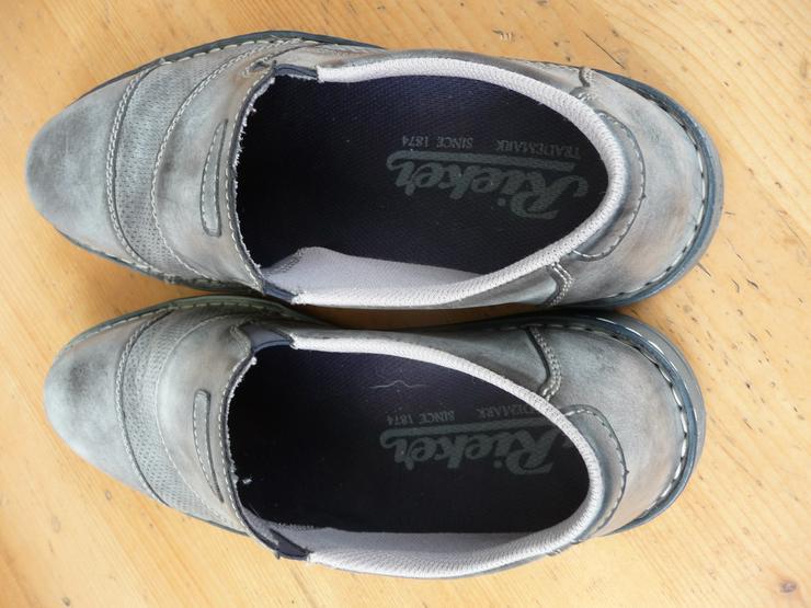 Bild 2: Rieker Herrenhalbschuhe (Slipper), grau, Größe 44, wenig getragen