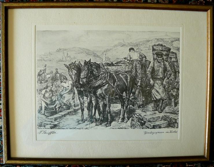 Strieffler Pferdegespann alte Grafik  (B083)