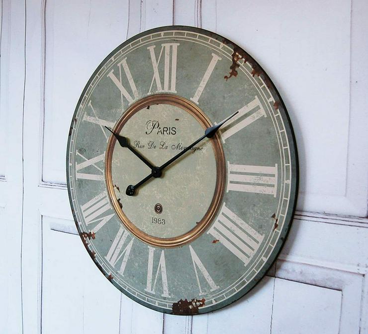"""Wanduhr """"Paris"""" im Landhaus Shabby Chic french Stil, Durchmesser - Dekoration - Bild 1"""