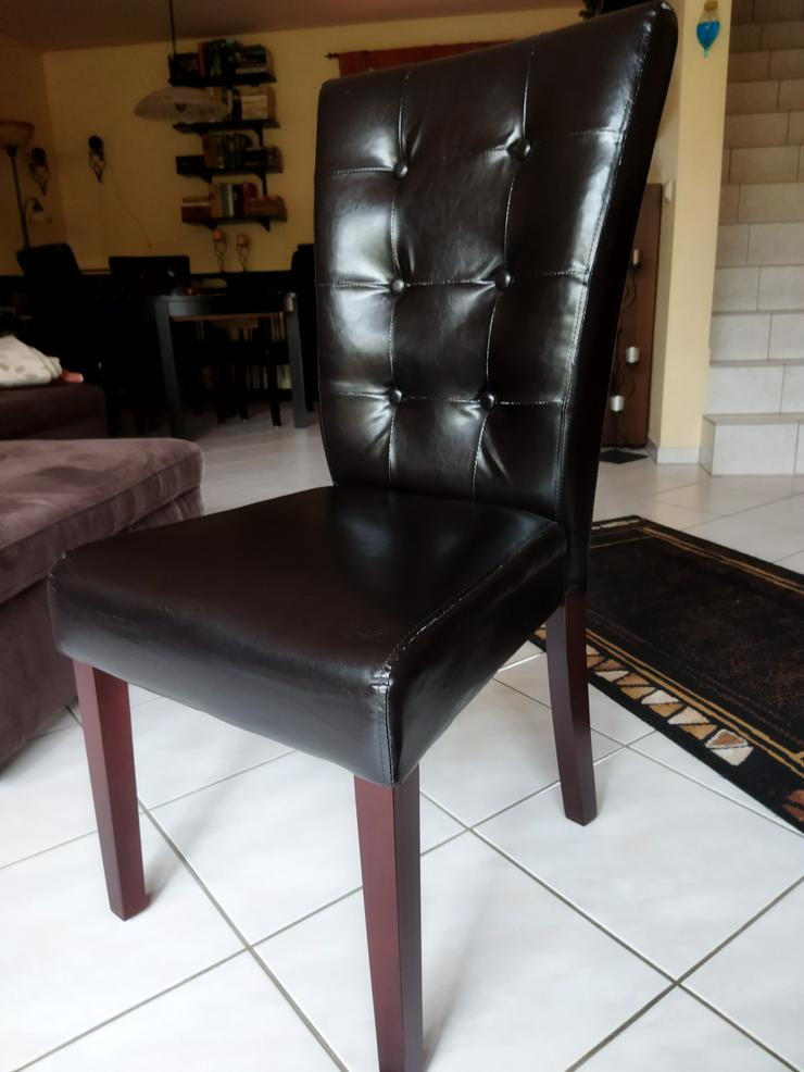 Bild 3: 6 Esszimmer-Stühle. Kunstleder