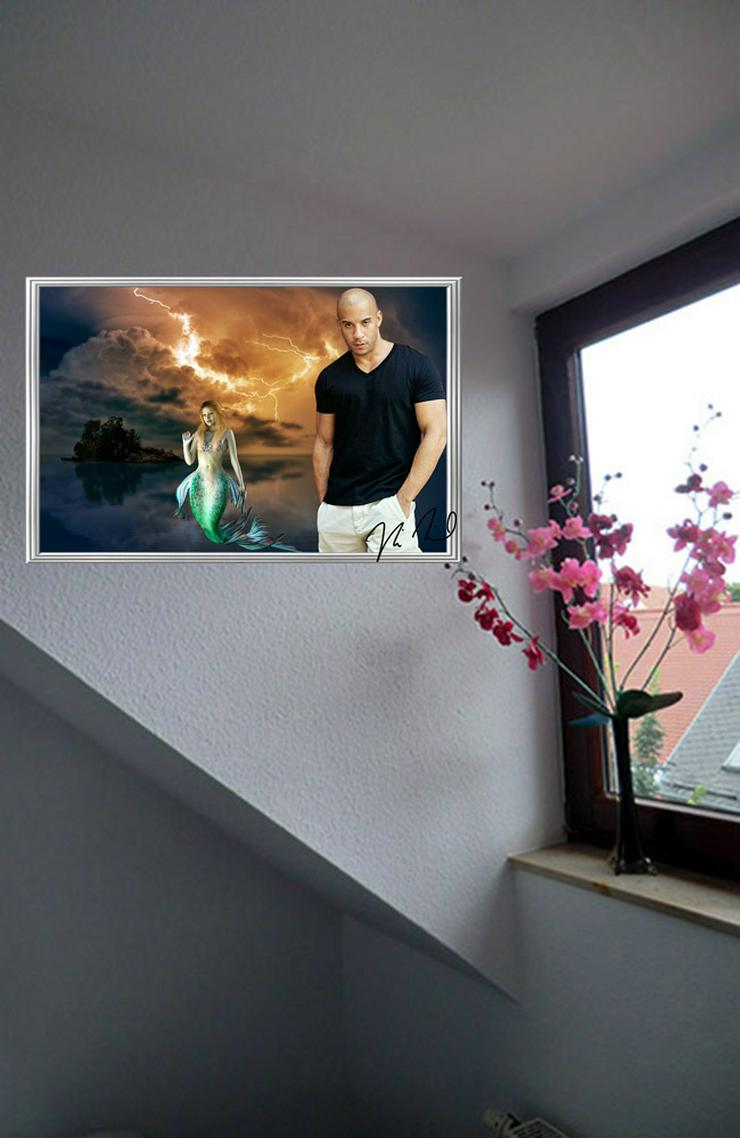 "Bild 3: VIN DIESEL ""Meerjungfrau"". Star souvenir. Blickfang! Super Deko. Geschenkidee. Einmalig! Wandbild. Neuheit! Sammelobjekt. Zimmerdeko. Unikat!"