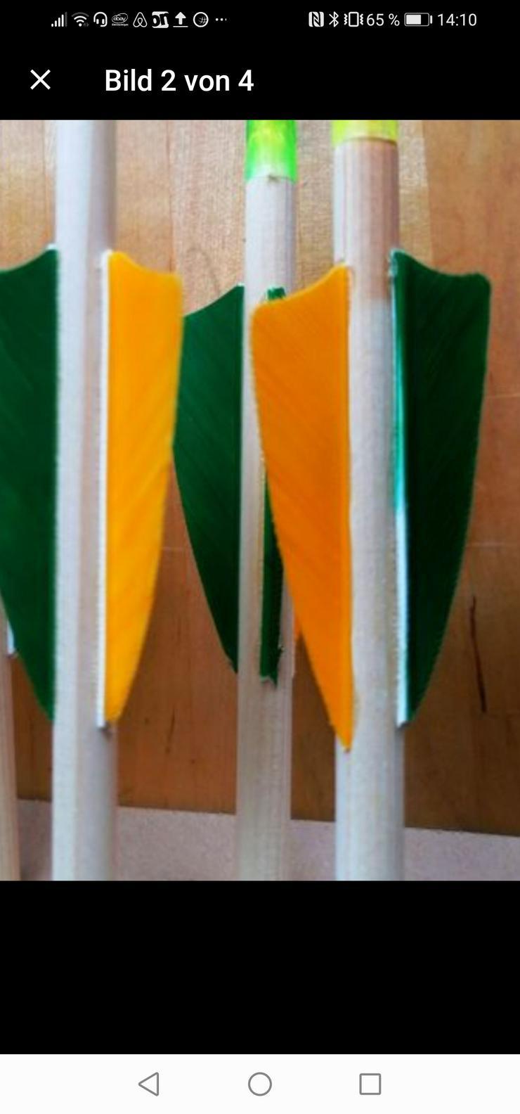 Bild 4: 6 Holzpfeile Holz-Pfeile Naturfedern leichte Bögen )30 lbs O 5/16 NEU