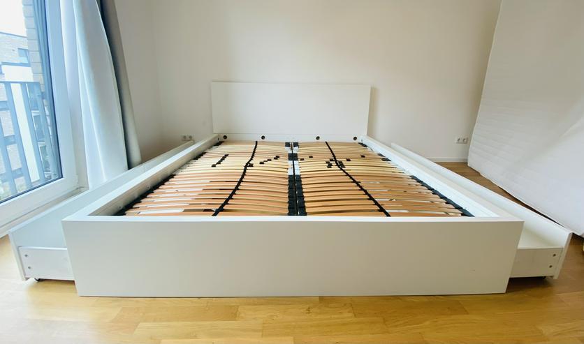 Bild 6: IKEA Bett MALM (180x200) inkl. Matratze (180cm) und 2 verstellbare Lattenroste