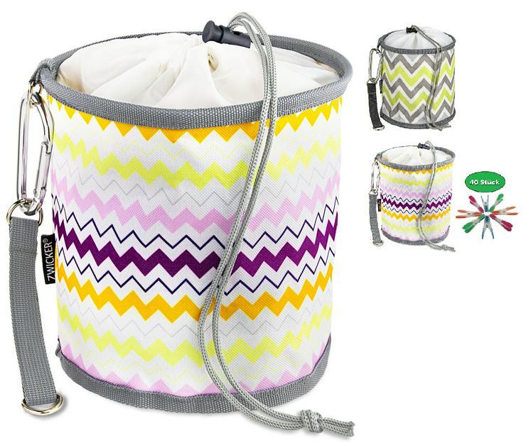Neu! ZWICKER Design Wäscheklammerbeutel zum Aufhängen - Beutel für 150 Klammern