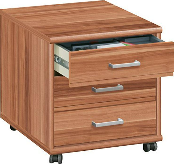 Schreibtisch und Rollcontainer nußbaumfarben