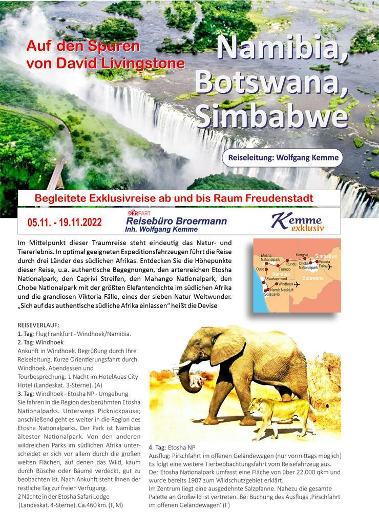15 Tage Rundreise NAMIBIA - BOTSWANA - SIMBABWE
