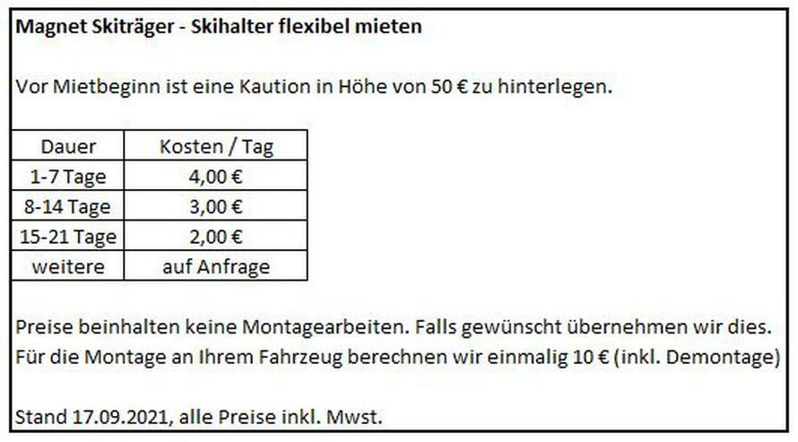 Magnet Skiträger Skihalter - flexibel mieten. Ab 4€/Tag