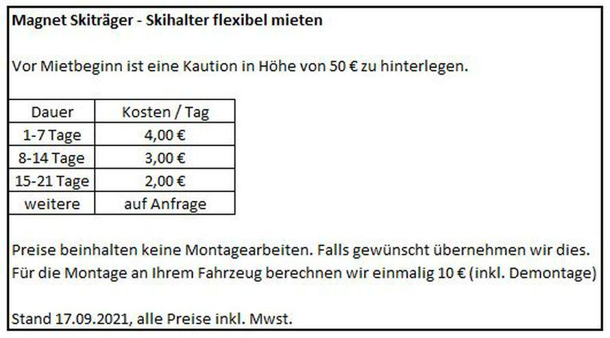 Bild 2: Magnet Skiträger Skihalter - flexibel mieten. Ab 4€/Tag
