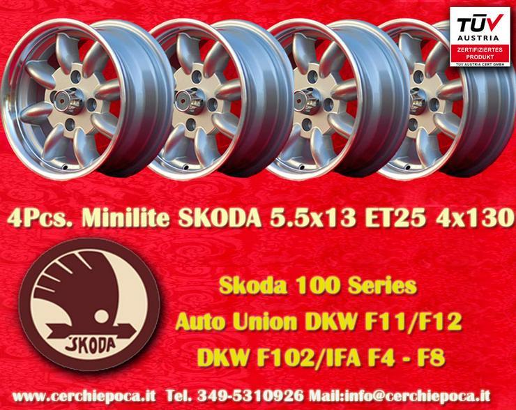 4 Stk. Felgen Skoda Nachbau Minilite 5.5x13 4x130
