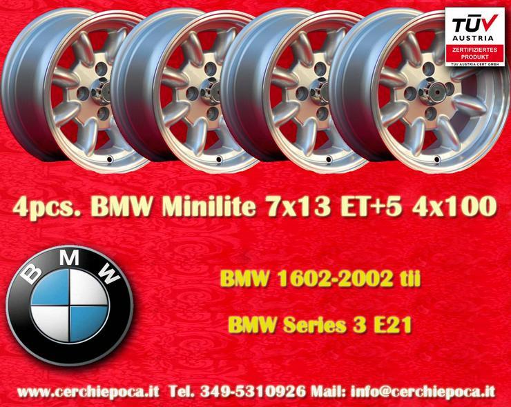 4 Stk. Felgen BMW/OPEL Minilite 7x13 ET+5 Lk. 4x10
