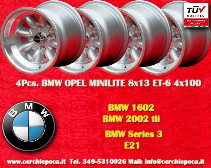 4 Stk. Felgen BMW/OPEL Minilite 8x13 ET-6 Lk. 4x10