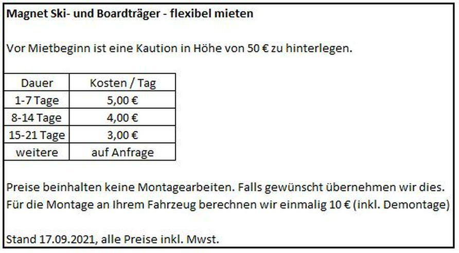 Bild 3: Magnet Ski - und Snowboard Träger - flexibel mieten. Ab 5€/Tag