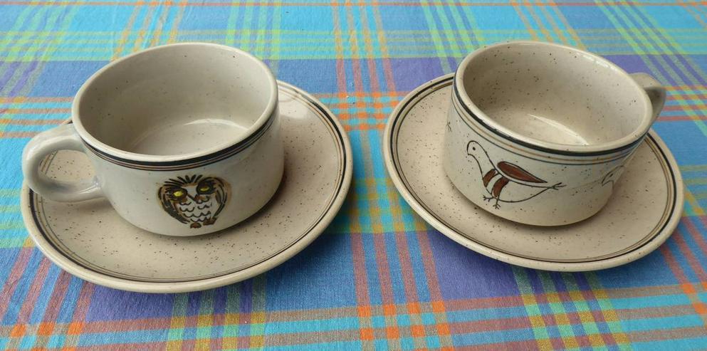 2 Cappussinotassen Keramik mit Unterteller, neu