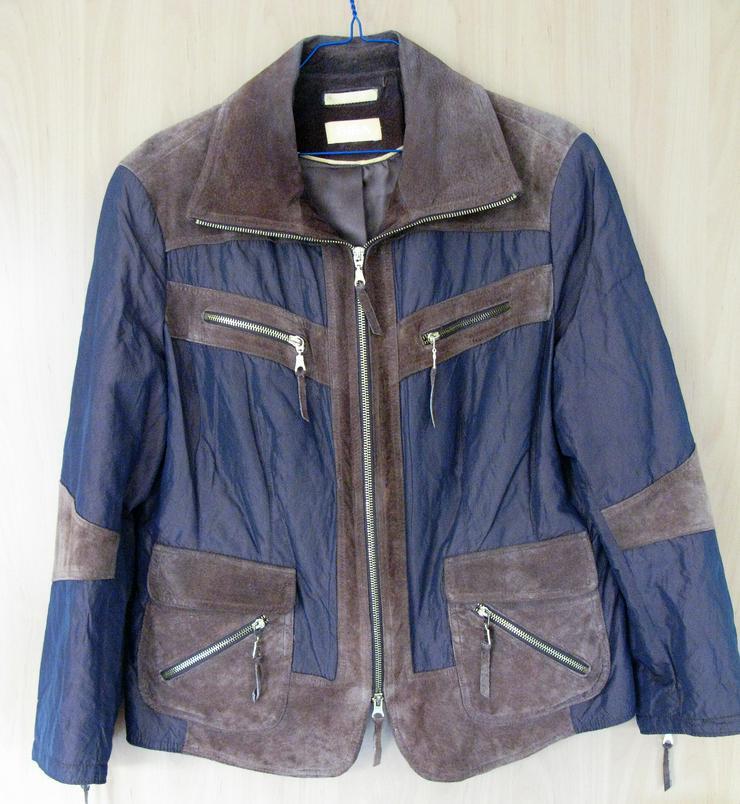 Braune Leder-Jacke mit Stoffeinsätzen
