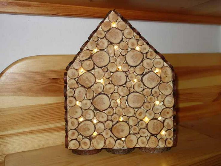 Deko, Lichterhaus, Holzhaus mit Astscheiben, handgearbeitet