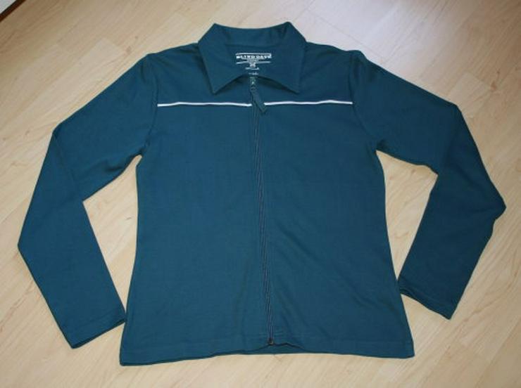 Damen Langarm Sweatjacke Strickjacke Cardigan Sweater Poloshirt Shirtjacke langärmelig petrol Gr. 40 M NEU