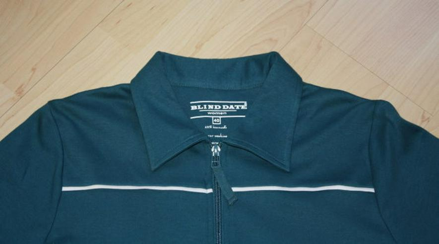 Bild 2: Damen Langarm Sweatjacke Strickjacke Cardigan Sweater Poloshirt Shirtjacke langärmelig petrol Gr. 40 M NEU