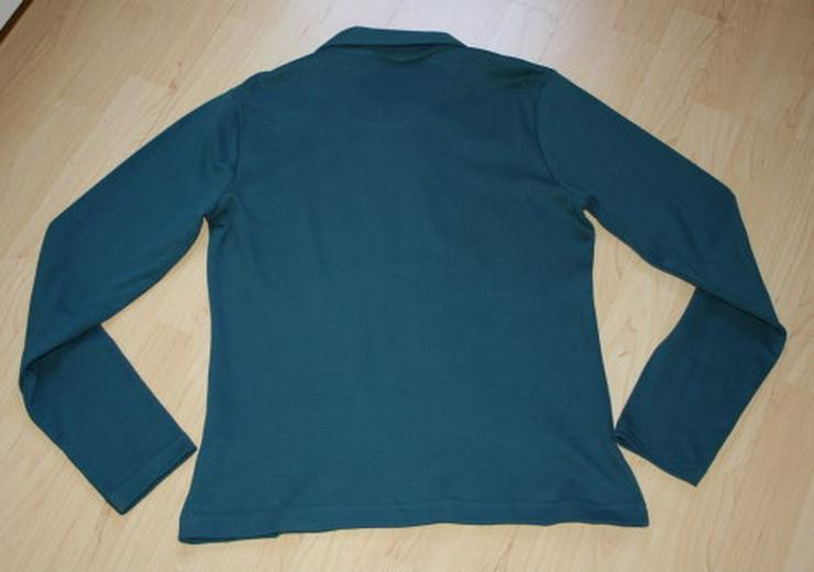 Bild 3: Damen Langarm Sweatjacke Strickjacke Cardigan Sweater Poloshirt Shirtjacke langärmelig petrol Gr. 40 M NEU