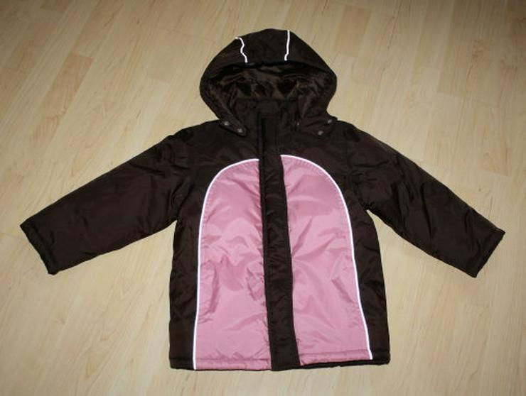 Mädchen Winterjacke Anorak Kinder Jacke Kapuze Schneejacke Skijacke braun/rosa Gr. 122 NEU