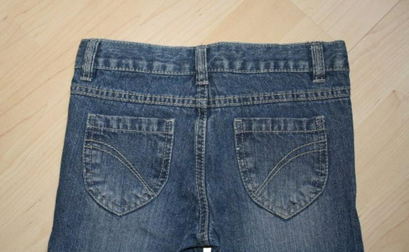 Bild 5: Mädchen Jeans Hose Herzen Kinder Jeanshose lang mit Herzaufnäher lange Kinderjeans blau Gr. 122 NEU