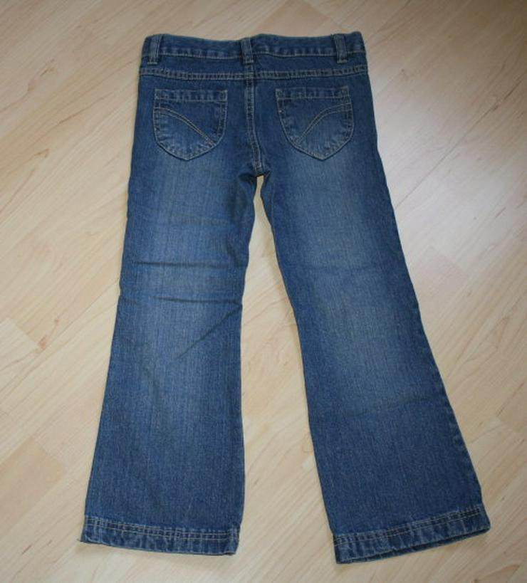 Bild 4: Mädchen Jeans Hose Herzen Kinder Jeanshose lang mit Herzaufnäher lange Kinderjeans blau Gr. 122 NEU