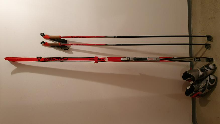Langlaufski Fischer CS skatecut 187/N301, Skistöcke und -schuhe